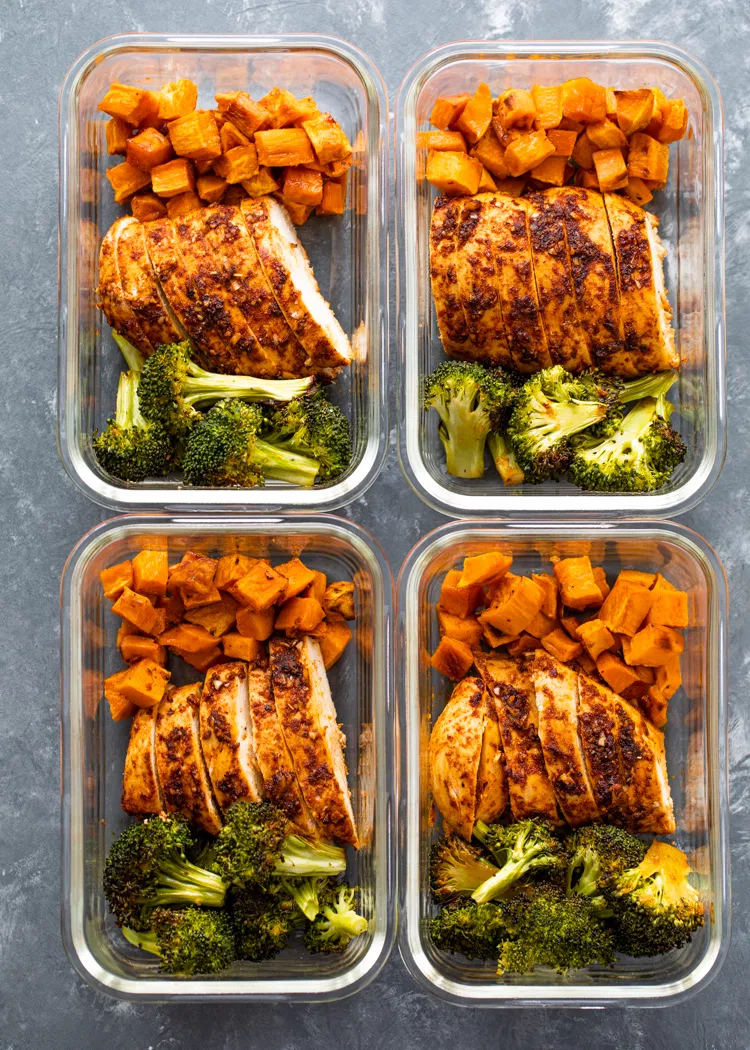 Sheet Pan Roasted Chicken, Sweet Potatoes, & Brocc