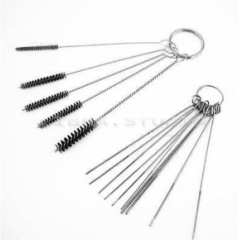 Carburetor Carbon Dirt Remove Jet 5 Cleaning Needles/&5 Brushes Tools Kit Top