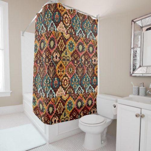 Pattern, Floral, Bohemian, Geometric, Brown Hues Shower Curtain ...