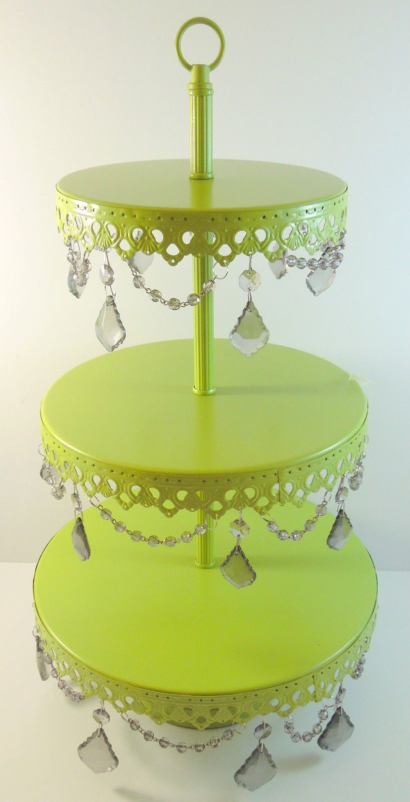 Opulent vintage kitchen green vintage crystal jeweled cake stand