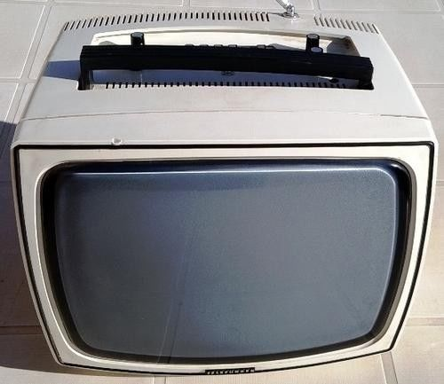 Vintage Retro Telefunken Black White Portable Tv Good Working