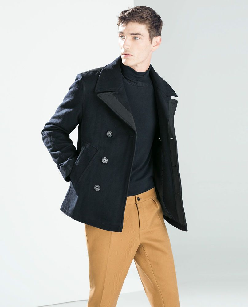 ZARA Man BNWT Navy Blue Wool Blend Pea Coat Jacket Small 6593/358 RRP GBP