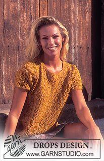 Søt DROPS genser i Silke-Tweed med hullmønster og korte ermer ~ DROPS Design