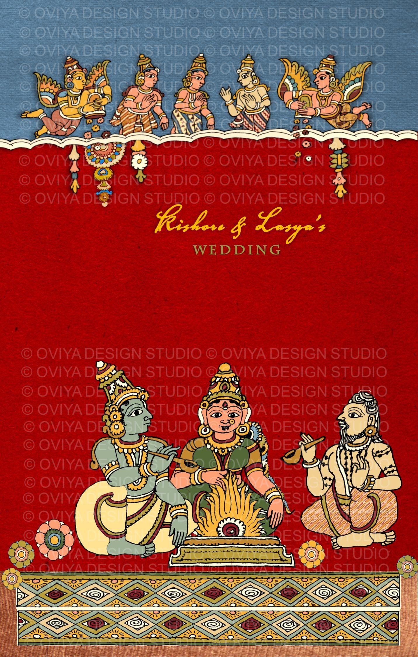 South Indian Kalamkari inspired Wedding Card front