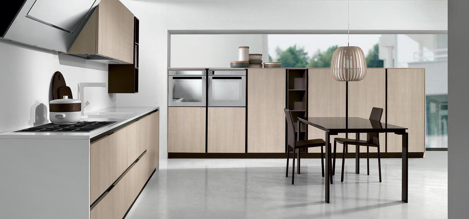 Cucina Moderna - Round Finitura tranchès rovere sabbia   Piano in ...