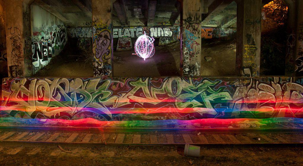 Light train, orb attempt, Cincinnati Graffiti