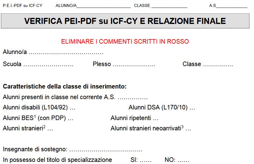 Verifica Pei Pdf Su Base Icf Cy E Relazione Finale Scarica Il