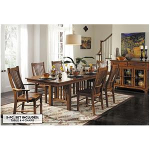 Laurelhurst 5 Pc Dining Set In 2020 Oak Dining Table Table