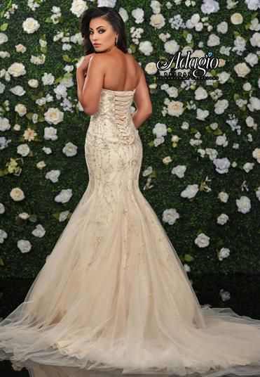 Adagio Bridal W9349 sweetheart neckline with lace up corset back lace mermaid wedding dress bridal gown Available colors: Champagne, Ivory, White Available sizes: 00-30