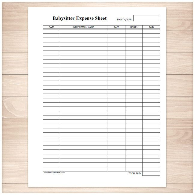 Monthly Babysitter Expense Sheet Printable – Printable Expense Sheet
