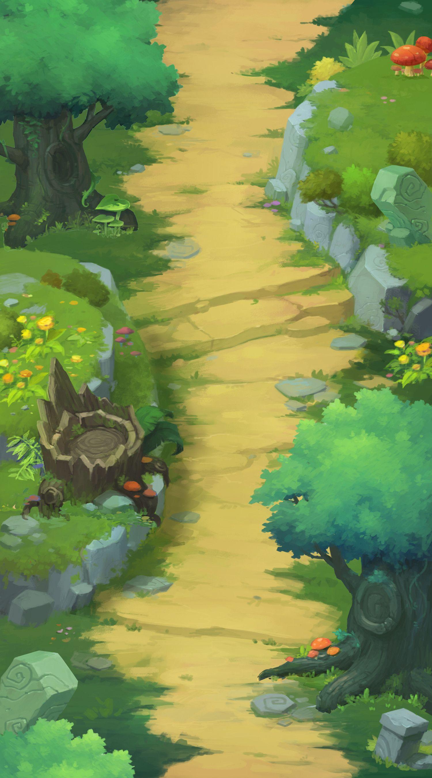 Artstation Road In Forest Ha Ko Game Concept Art Environment Concept Art 2d Game Art