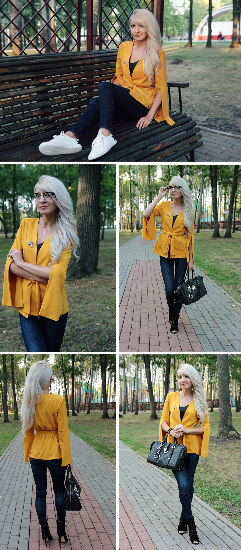 b9074fc303 SHEIN Yellow Split Sleeve Belted Outerwear Office Ladies Long Sleeve Plain  Wrap Workwear Blazer Women Autumn Elegant Coat #Women #Fashion #Beauty # Blazer # ...