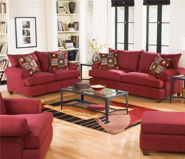 Superb Red Couch Living Room | Classic Red Living Room Chairs Decoration Ideas  Picture