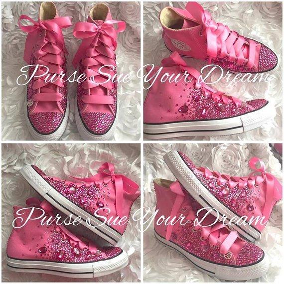 4edaced38e55 Pink Swarovski Crystal Converse Shoes - Swarovski Crystals - Wedding Shoes  - Bridal Converse - Page
