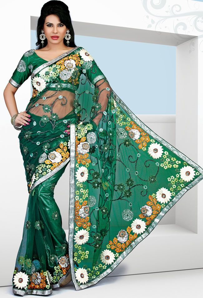 Green Net Party Wear Saree With Embroidery - IG7034 USD $ 107.96