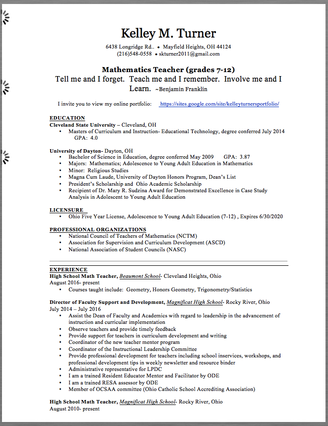 Kelley M Turner 6438 Longridge Rd Mayfield Heights Oh 44124 216 548 0558 Skturner2011 Gmail Com Mathematics Teacher Grades 7 12 Tell Me And I Fo