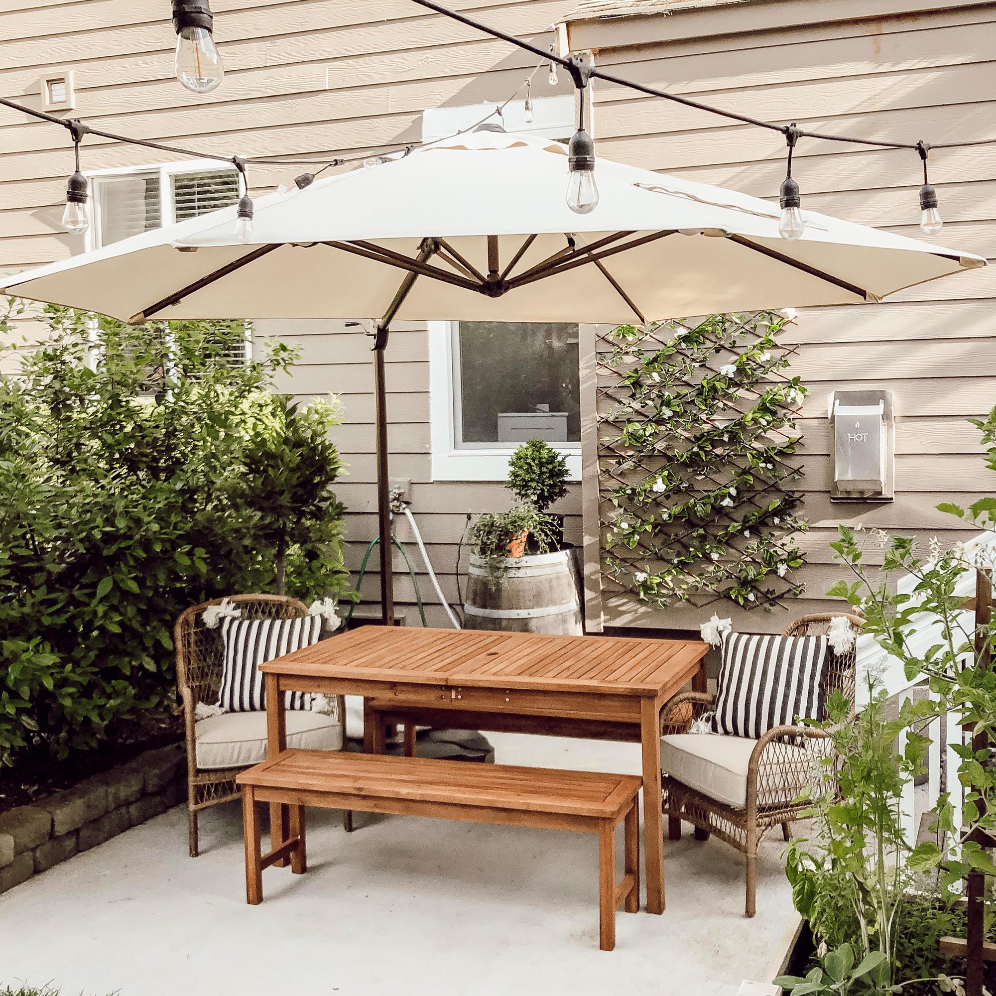 11 Feet Sunbrella Offset Cantilever Patio Umbrella In 2020 Backyard Furniture Patio Design Cantilever Patio Umbrella
