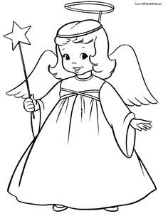 Free Angel Coloring Pages Letscoloringpages Cute