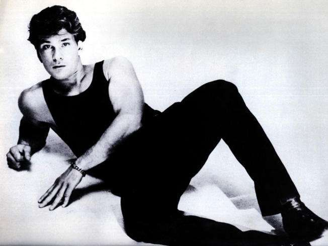 3432a6c15c311 Young Patrick Swayze in Black Tank Top and Black Pants