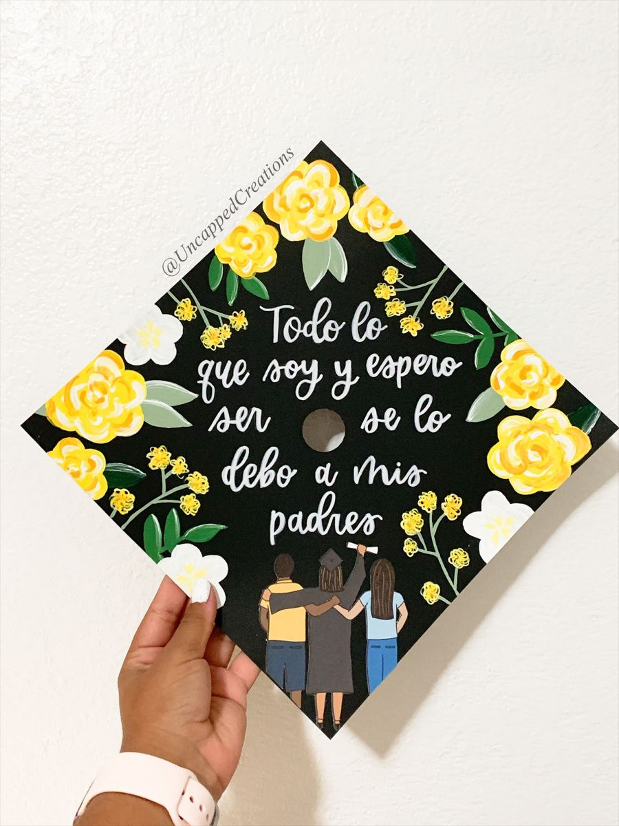 Yellow Flowers Grad Cap Grad Cap First Generation Graduation Cap Spanish First Generation Graduation Cap