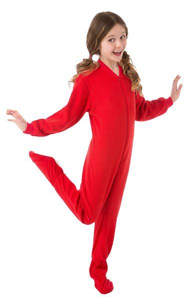 759d3f853de4 Boys   Girls Red Fleece Kids Onesie Footed Pajamas