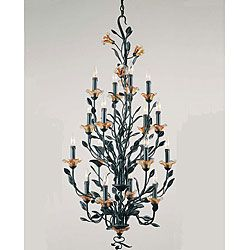 $559.99 Amber Mist 16-light Blacksmith Bronze Chandelier - This unique Amber Mist chandelier features a blacksmith bronze finish with amber glass flower shades. This 16-light chandelier adds the perfect touch of flair to any room and decor.   @overstock.com