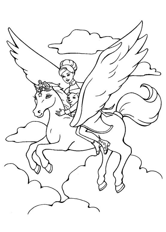 Barbie With Pegasus Coloring Pages Kidsdrawing Free Online