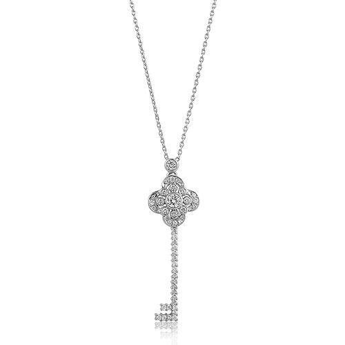 Sterling Silver Rhodium Plated Black /& White Synthetic CZ Fleur de Lis Key Pendant