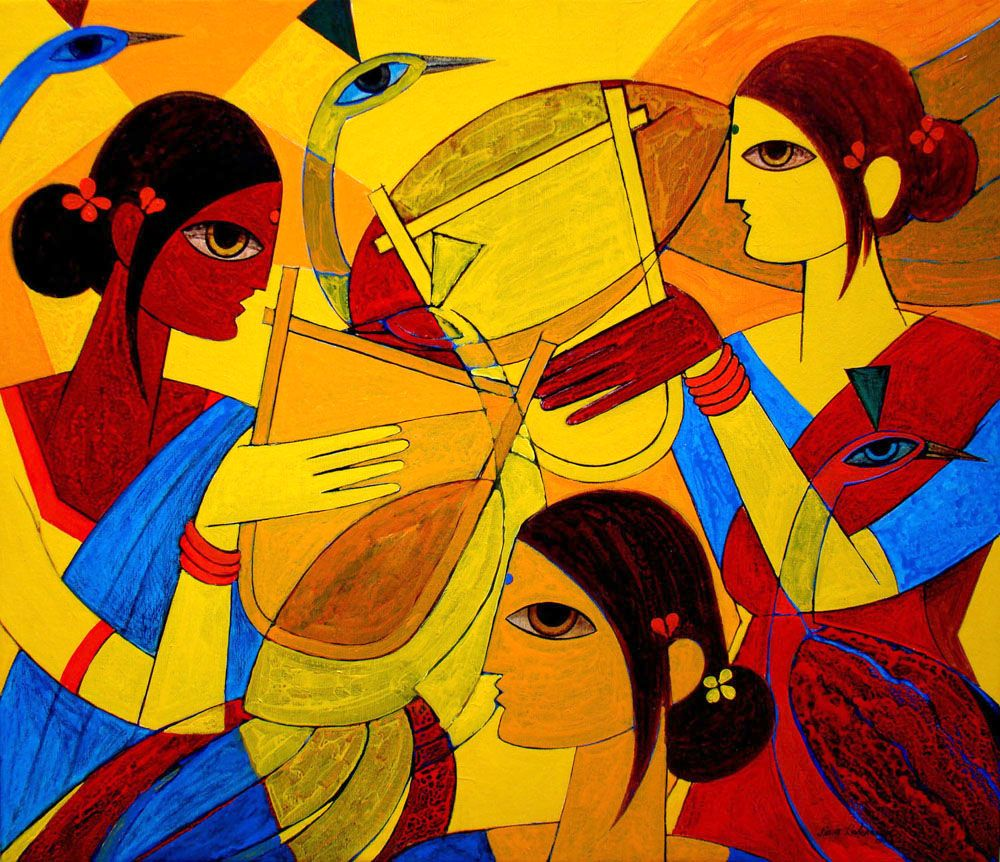 And here comes another one. Perfect for a contemporary Indian ... for Abstract Painting Of Indian Dancers  103wja