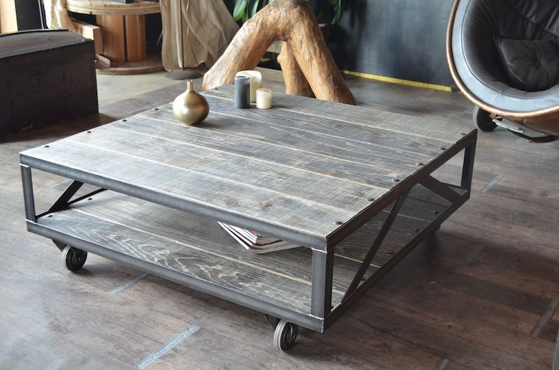 Table basse industrielle bois gris et acier bross - Table basse industrielle bois metal ...