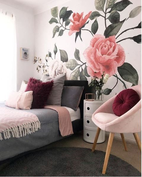 The Boo And The Boy Floral Wallpaper In Girls Rooms Bedroom Decor Home Decor Room Decor