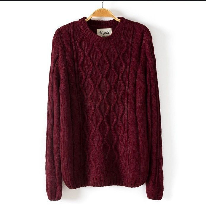 Solid Color Pullover Diamond Scoop Knit Sweater  bd46c21f1
