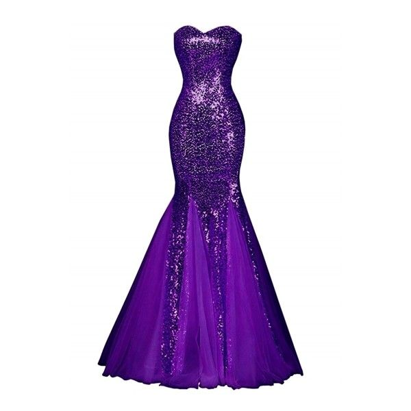 Glamour Sweetheart Sequin Mermaid Long Prom Dress ❤ liked on ...