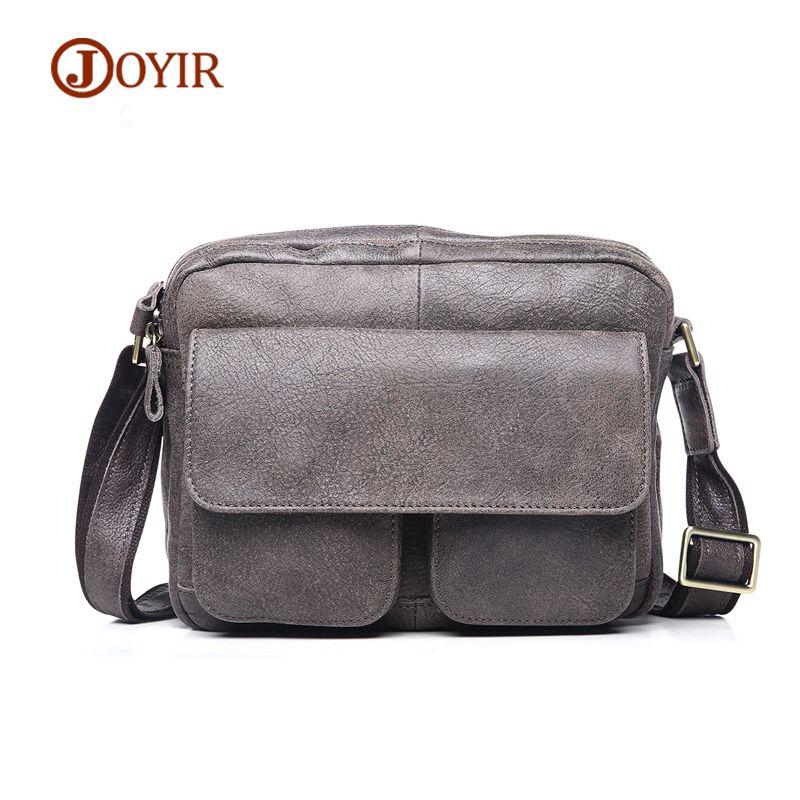 06fc6c7a14 JOYIR Men Messenger Bags Vintage Zipper Cow Leather Crossbody Bag  Functional Trunk Genuine Leather Bag Men