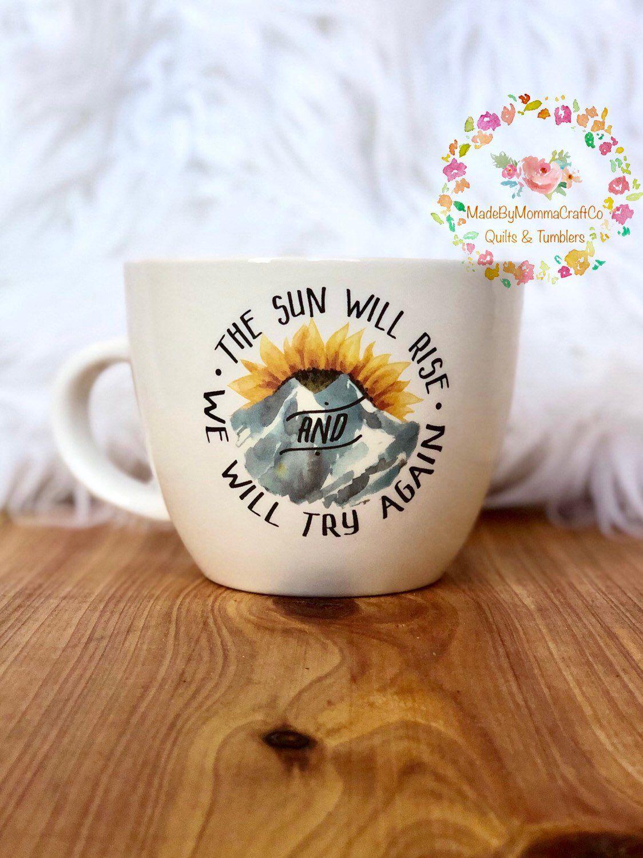 Sunflower Sun Will Ride Mountain Coffee Mug /// glittered