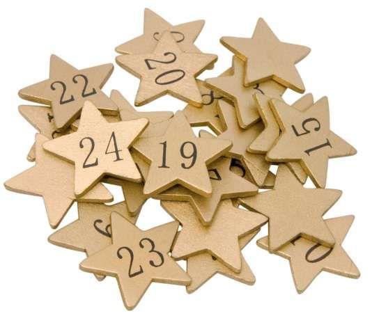Chiffres pour calendrier de l'Avent 'étoiles', or
