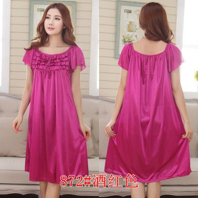 9 Candy Colors Very Loose Plus Size Solid Lingerie Bow Long Satin Lace  Ruffle Kimono Intimate Sleepwear Robe Night Gown Sexy-in Nightgowns    Sleepshirts ... 066ca9934