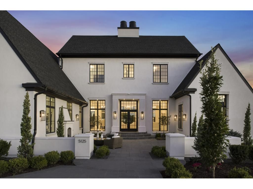 Pin by tasha ray evin on exterior in 2019 modern - White house exterior with black trim ...