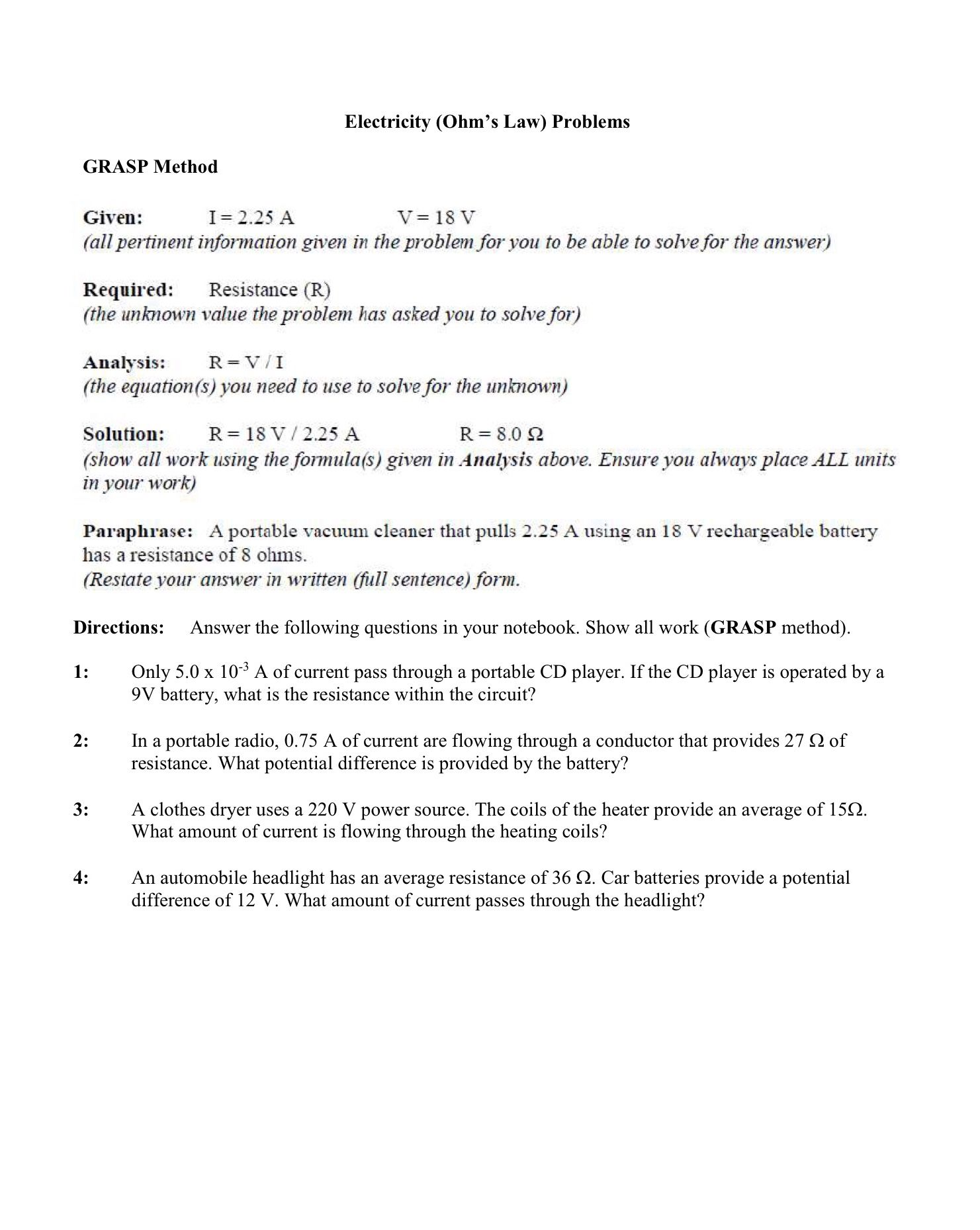 Ohm S Law Problems Worksheet January 12 2018 Ohms Law Chemistry Worksheets Inequality Word Problems