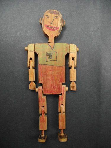 Antique Peg Wood Doll Folk Art Boy Moveable Arms Legs