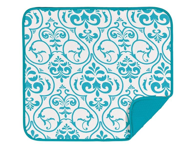 Envision Home Teal Damask Dish Drying Mat | Cooking.com