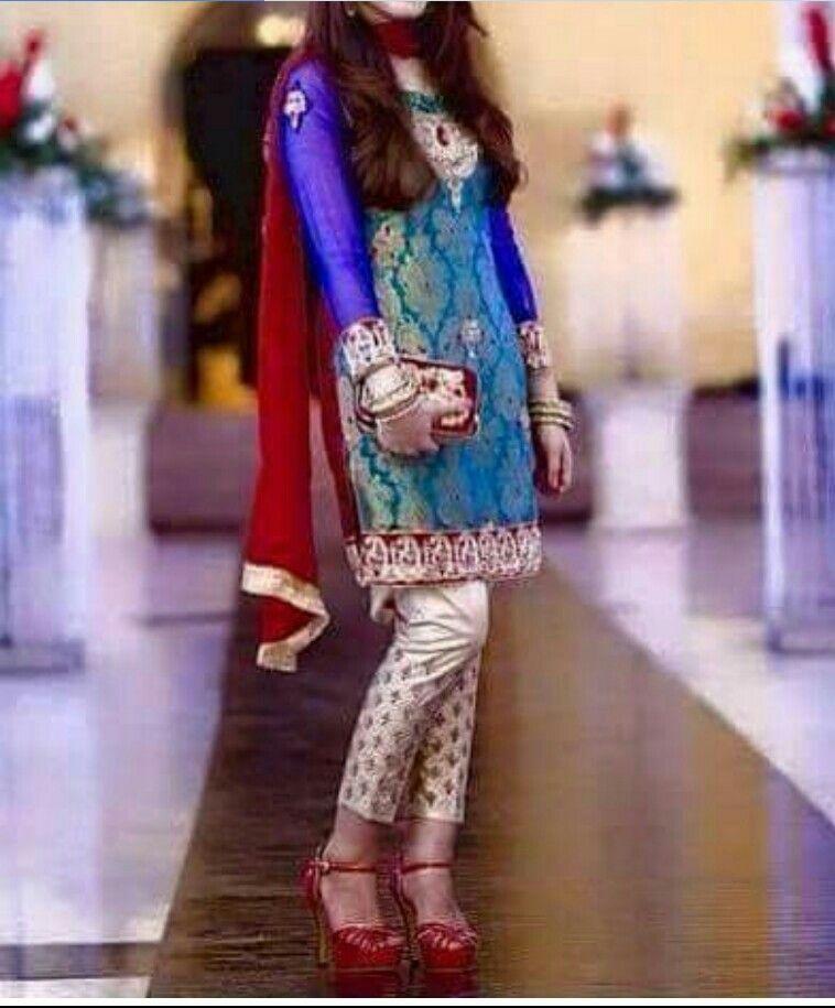 511c3dfd08 Jamawar red n blue dress   semi formal in 2019   Wedding salwar ...