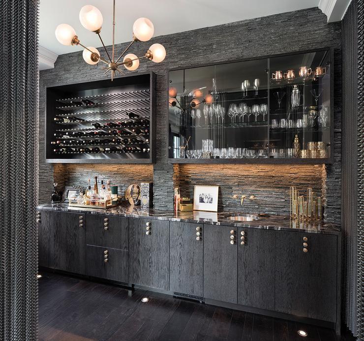 Contemporary Black Wet Bar Design Features A Currey & Co