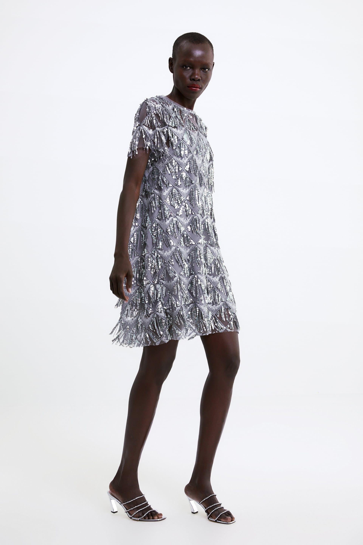 db50ef0c Fringed sequin dress in 2019   I'd Wear That   Sequin dress, Fringe ...