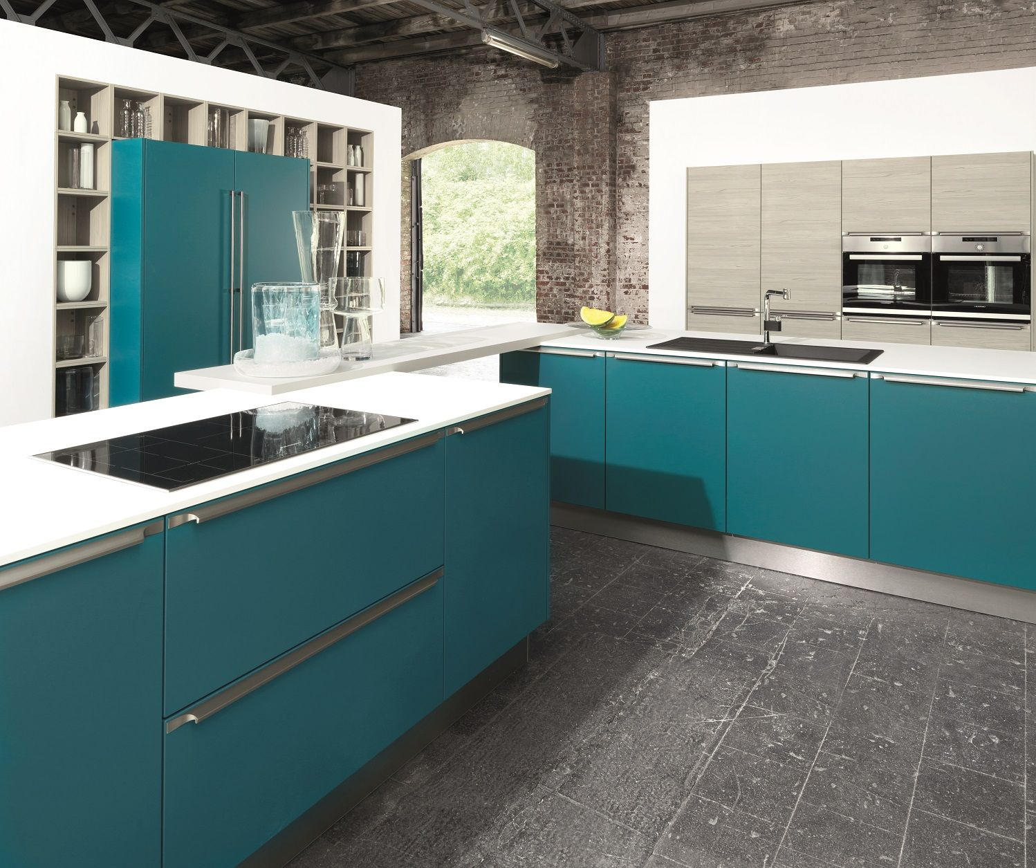 Hacker kitchen in Petrol Blue... Good design has no reason to be shy ...