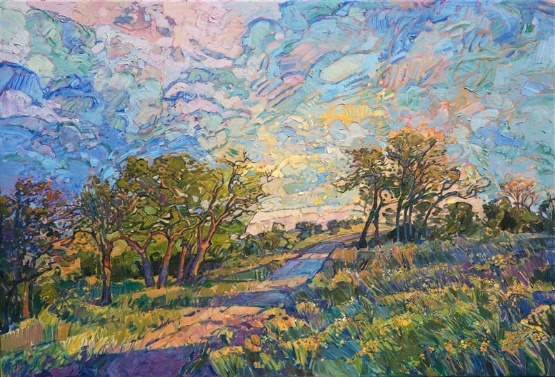 Texas Hill Country Landscape Oil Painting By American Impressionist Erin Hanson Oil Painting Landscape Abstract Art Painting Abstract Landscape Painting