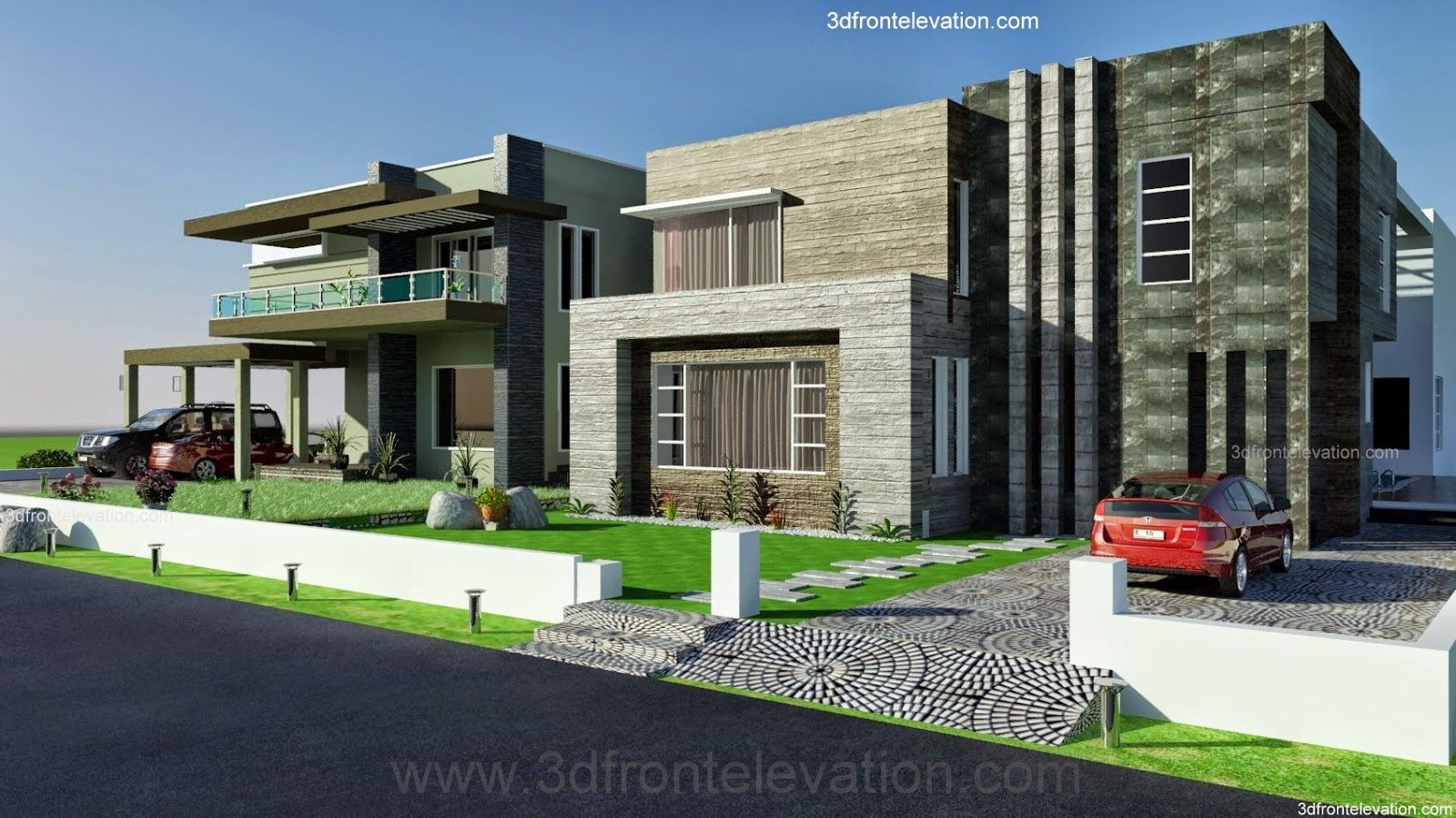 3d front 2 2 kanal dha karachi modern for Contemporary building elevation
