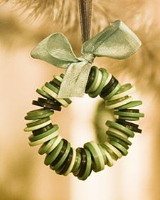Colorful stray buttons can be put to new use as Christmas ornaments.