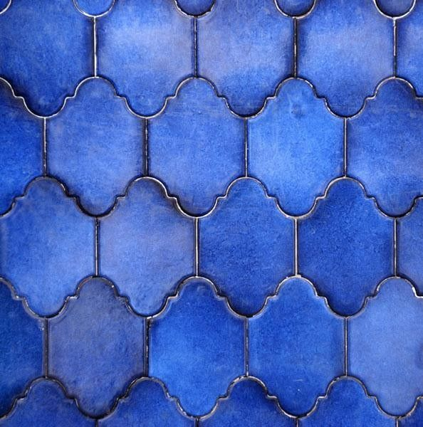 Blue Scallop Shaped Tile Wallpaper Tile Wallpaper Tile Patterns Blue Tiles
