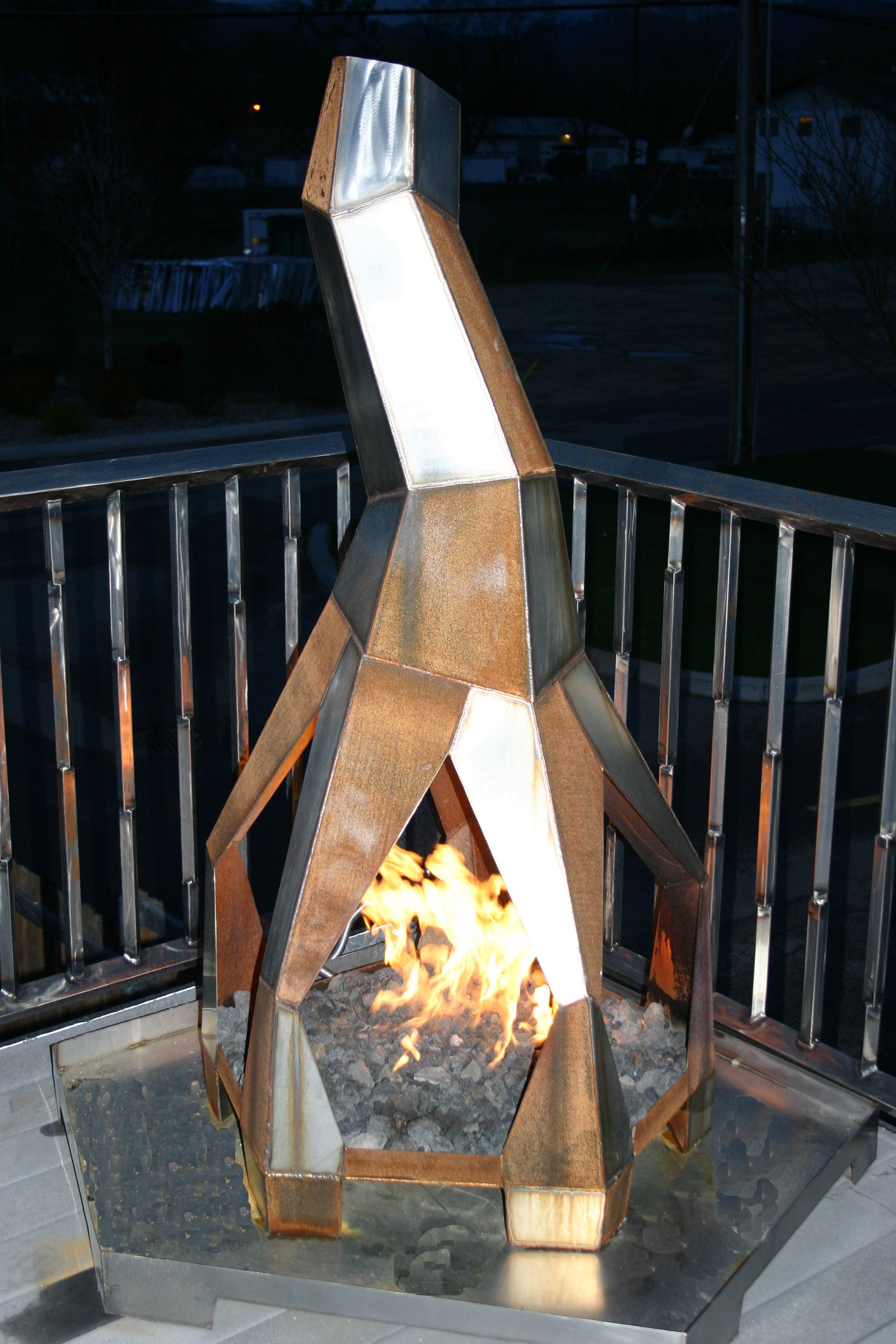 free standing outdoor gas fireplace 60 h x 40 w x 40 d welded
